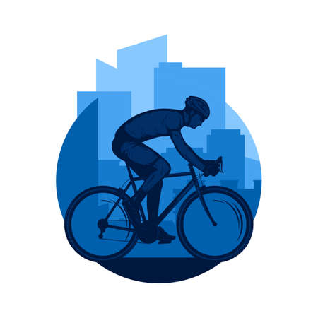 Vector road biking illustration with a cyclist on a sport bike 矢量图像