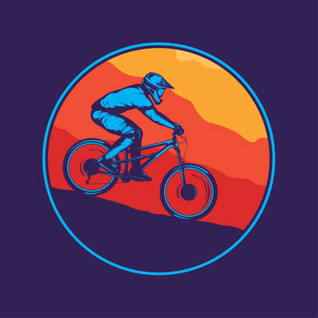Vector mountain biking colorful illustration