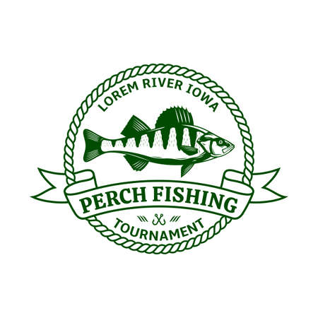 Vector perch fishing badge isolated on a white background