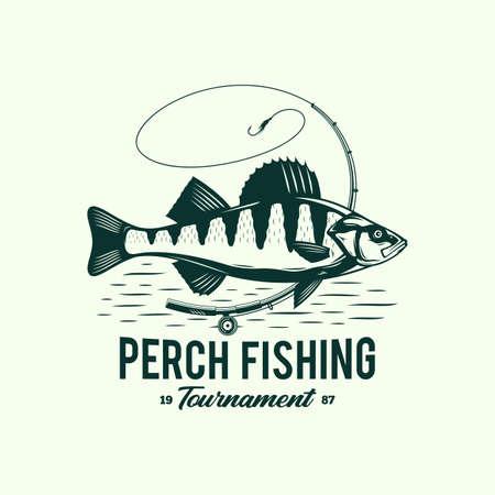 Vector perch fishing badge design concept Vettoriali