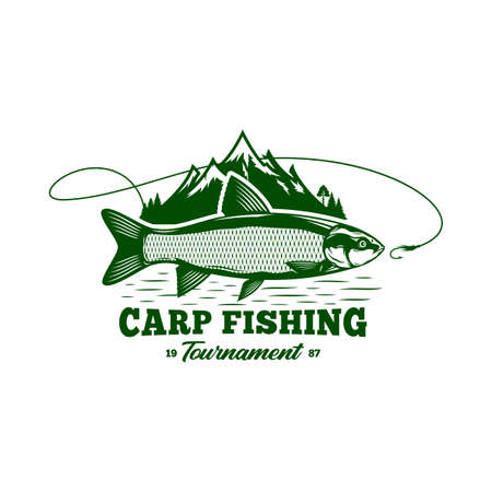 Vector grass carp fishing badge isolated on a white background