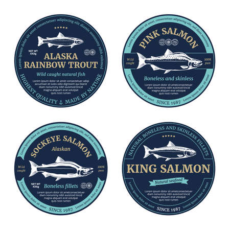 Vector salmon round labels. Rainbow trout, sockeye, chinook and pink salmon fish illustrations Vettoriali