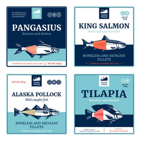 Vector fish labels. Salmon, pangasius, tilapia and Alaska pollock fish illustrations Vettoriali