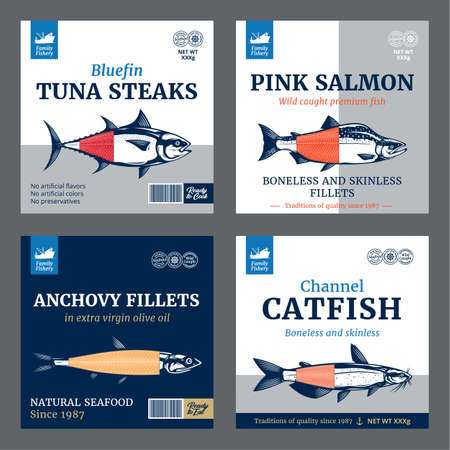 Vector fish labels. Salmon, tuna, anchovy and catfish fish illustrations