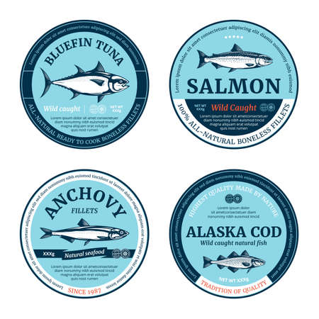 Vector fish round labels. Salmon, tuna, anchovy and cod fish illustrations Vettoriali