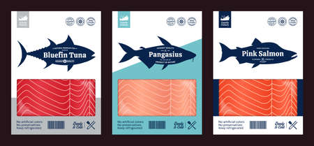 Vector fish flat style packaging design. Pink salmon, pangasius and tuna fish silhouettes