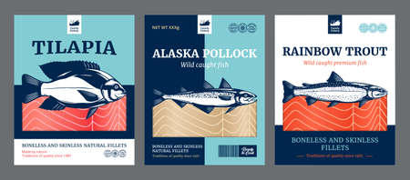Vector fish flat style packaging design. Reinbow trout, Alaska pollock and tilapia fish illustrations Vettoriali