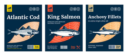 Vector fish flat style packaging design. Salmon, Atlantic cod and anchovy fish illustrations Vettoriali