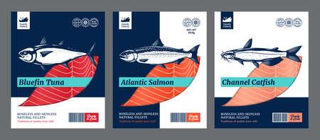 Vector fish flat style packaging design. Salmon, catfish and tuna fish illustrations