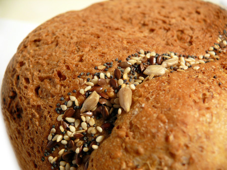 Closeup of the crust of a wholemeal bread Stock Photo