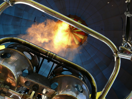 Flame of a burner inside a hot air balloon Stock Photo