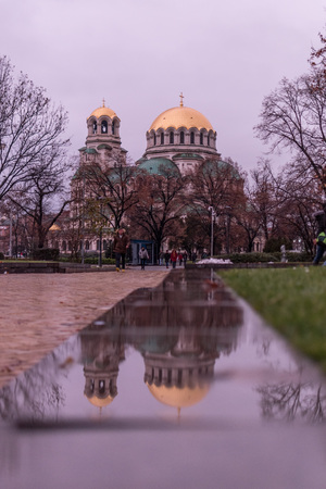 Exterior view of the Alexander Nevsky Orthodox Christian Cathedral in Sofia, Bulgaria Stock Photo