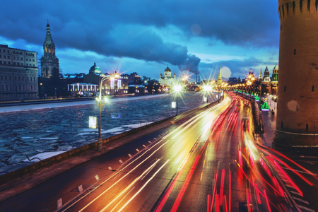 Moscow traffic at night