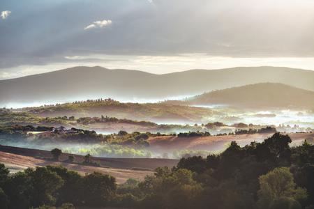 Foggy Tuscany landscape
