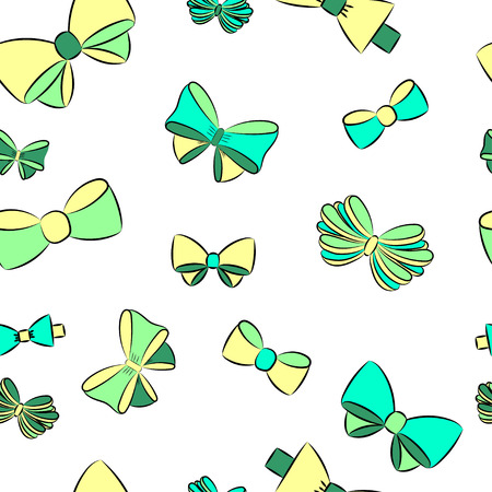 pretty hair: seamless pattern with contour gift bow, ribbon Illustration