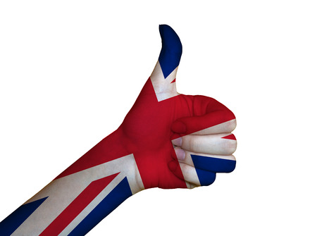 Hand covered in flag of UK photo