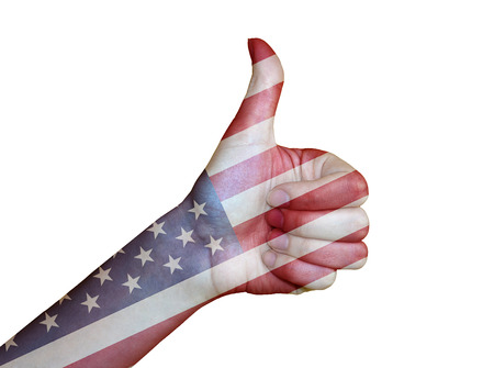 Hand covered in flag of USA photo