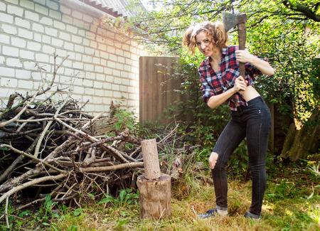 lumberjack shirt: Angry Woman Chopping Wood