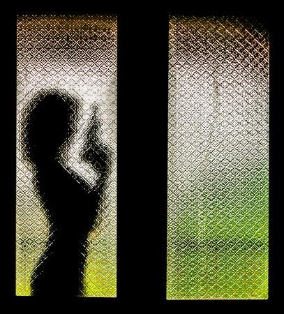 self harm: Silhouette of Woman with Gun Stock Photo