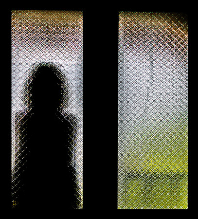 self harm: Silhouette of Lonely Woman Stock Photo
