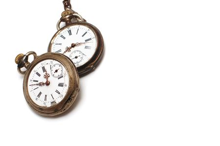 Two old broken pocket watch isolated on white 免版税图像