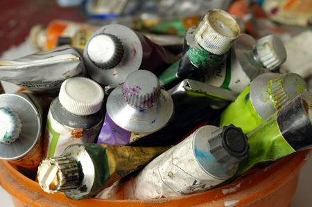 Old Paint tubes in the art studio