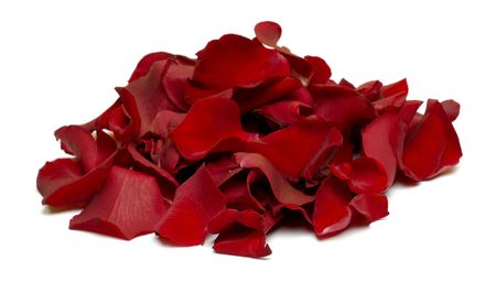 Collection of red rose petals