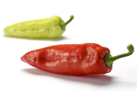 Red and Green sweet peppers over white background Stock Photo - 2995158