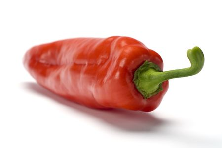Red sweet pepper over white background