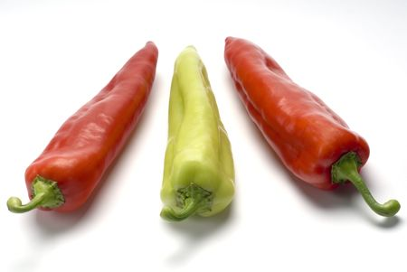 Three sweet peppers over white background Stock Photo - 2998936