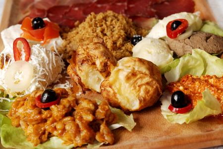 Traditional Serbian food plate with different kind of meals. Serbian hors doeuvre
