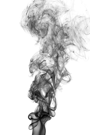 Black abstract smoke wave, isolated on white background Stock Photo