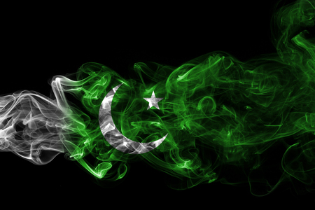 Pakistan smoke flag Stock Photo
