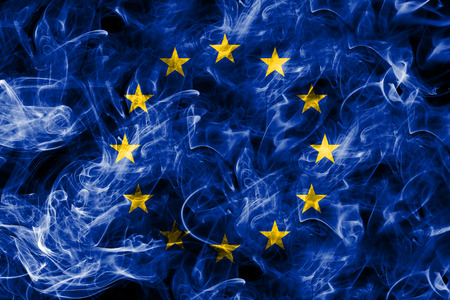 EU smoke flag, European Union flag 免版税图像