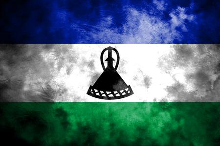 Old Lesotho grunge background flag