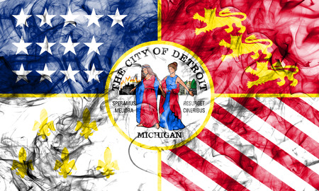 Detroit city smoke flag, Michigan State, United States Of America