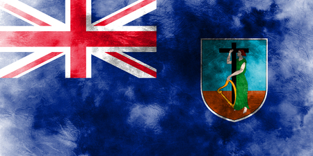 Montserrat grunge flag, British Overseas Territories, Britain dependent territory flag