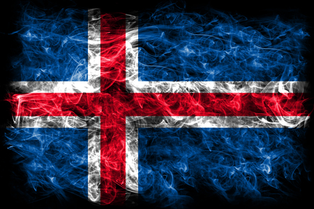 Iceland  smoke flag Stock Photo