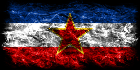 Yugoslavia smoke flag Stock Photo