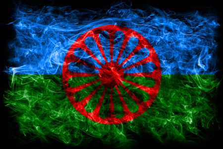 Romani people smoke flag, Gipsy smoke flag 스톡 콘텐츠