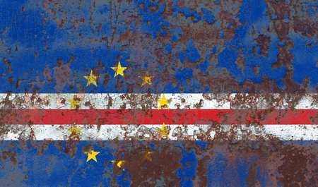 Old Cape Verde grunge background flag Stock Photo