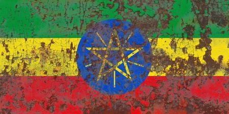 Old Ethiopia grunge background flag