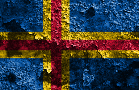 Aland grunge flag, Finland dependent territory flag Stock Photo