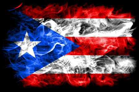 Puerto Rico smoke flag, United States dependent territory flag Stock Photo