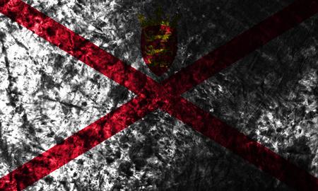 Jersey smoke flag, United Kingdom dependent territory flag Stock Photo