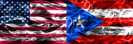 United States vs Puerto Rico smoke flags concept placed side by side