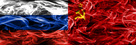 Russia vs USSR smoke flags placed side by side Фото со стока