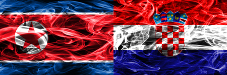 North Korea vs Croatia smoke flags placed side by side