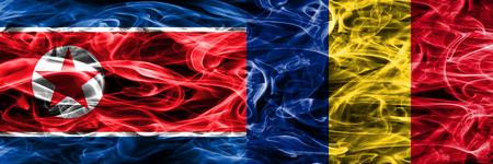 North Korea vs Romania smoke flags placed side by side