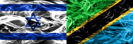 Israel vs Tanzania smoke flags placed side by side. Israeli and Tanzania flag together